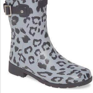 HUNTER Short Leopard Waterproof Rain Boot Sz 7